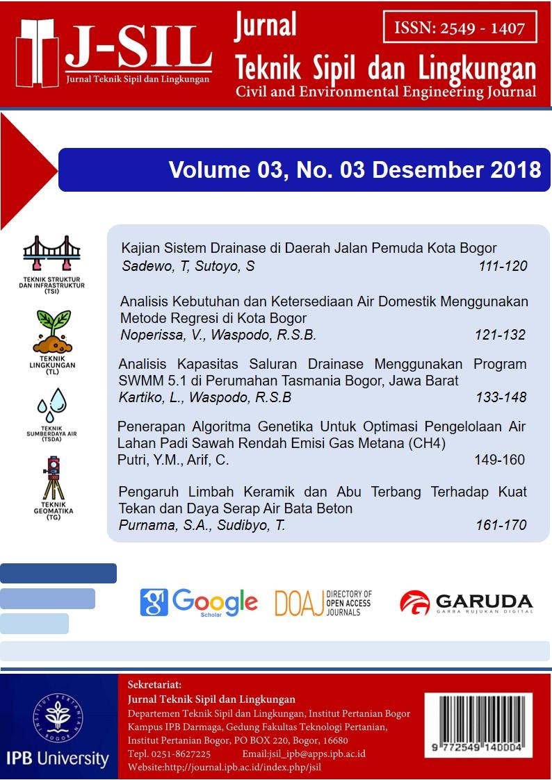 Kajian Sistem Drainase Di Daerah Jalan Pemuda Kota Bogor Jurnal