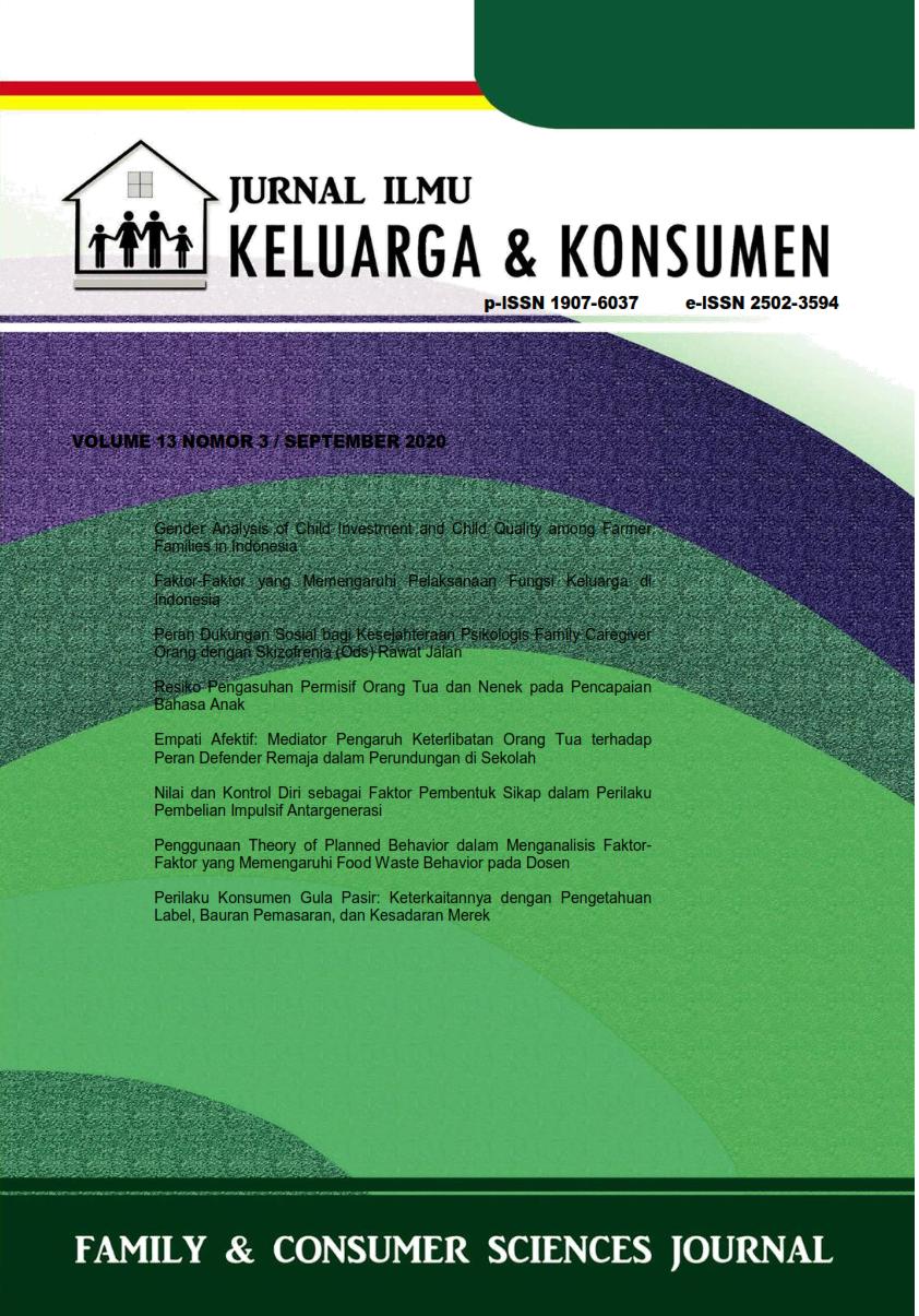Jurnal Ilmu Keluarga dan Konsumen Volume 13 Nomor 3