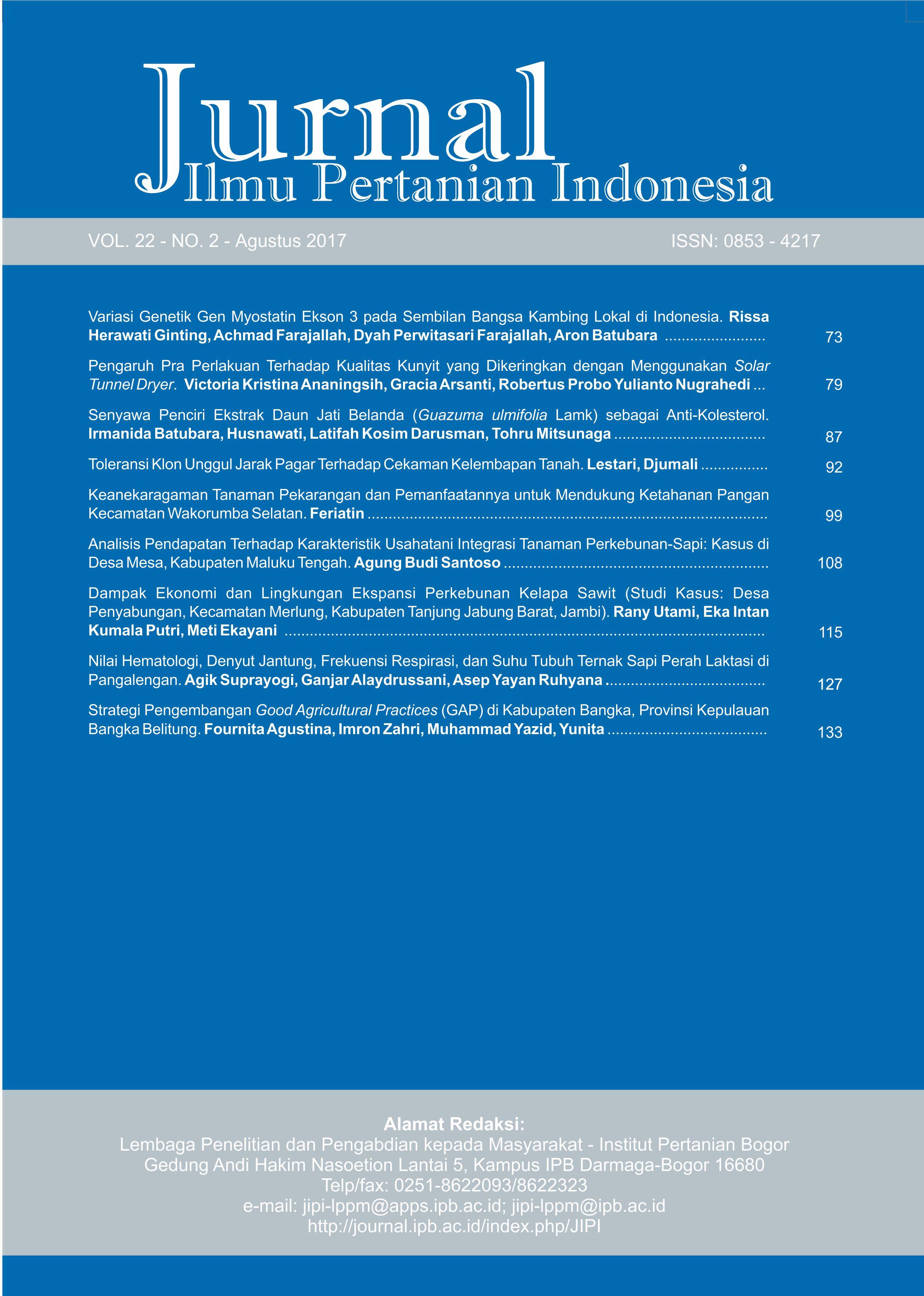 Nilai Hematologi Denyut Jantung Frekuensi Respirasi Dan Suhu Tubuh Ternak Sapi Perah Laktasi Di Pangalengan Jurnal Ilmu Pertanian Indonesia